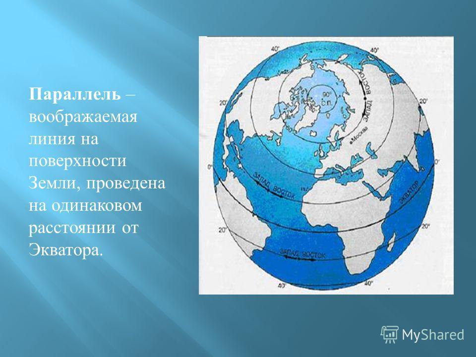 Параллель – воображаемая линия на поверхности Земли, проведена на одинаковом расстоянии от Экватора.