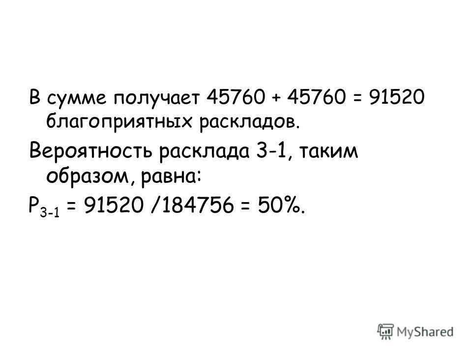 В сумме получает 45760 + 45760 = 91520 благоприятных раскладов. Вероятность расклада 3-1, таким образом, равна: P 3-1 = 91520 /184756 = 50%.