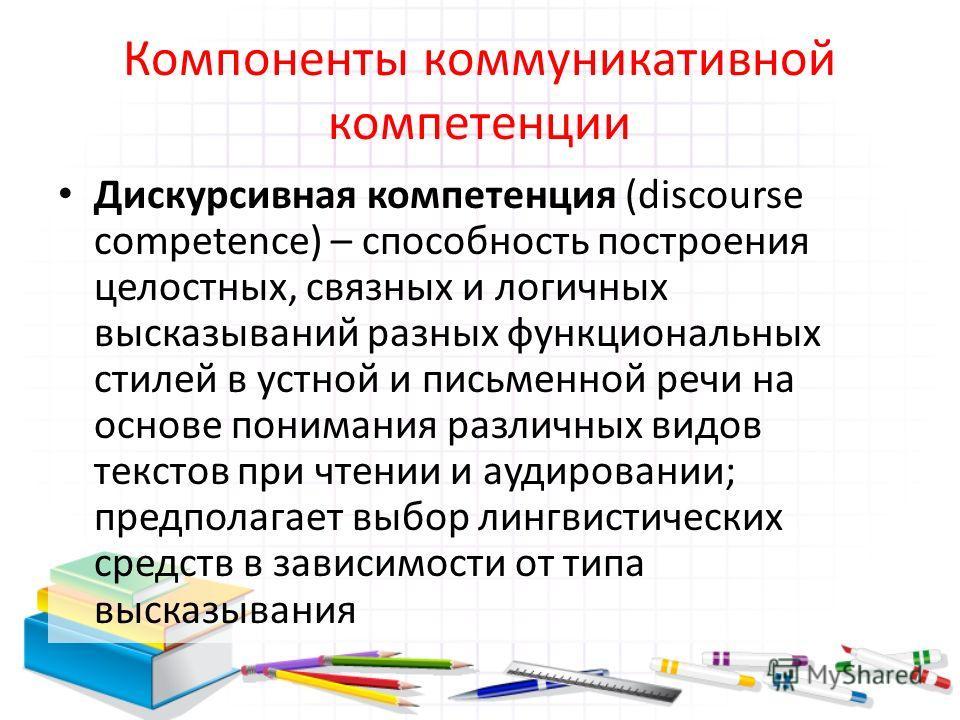 Компоненты коммуникативной компетенции Дискурсивная компетенция (discourse competence) – способность построения целостных, связных и логичных высказываний разных функциональных стилей в устной и письменной речи на основе понимания различных видов тек