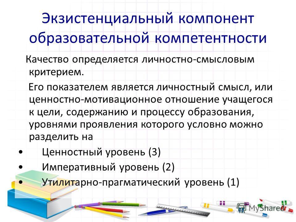 Экзистенциальный компонент образовательной компетентности Качество определяется личностно-смысловым критерием. Его показателем является личностный смысл, или ценностно-мотивационное отношение учащегося к цели, содержанию и процессу образования, уровн