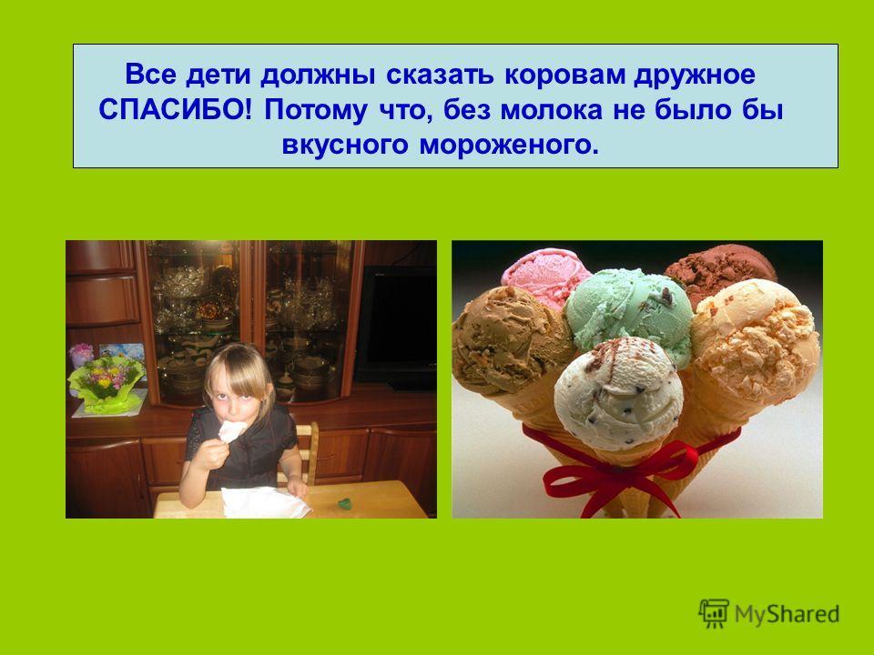 Все дети должны сказать коровам дружное СПАСИБО! Потому что, без молока не было бы вкусного мороженого.