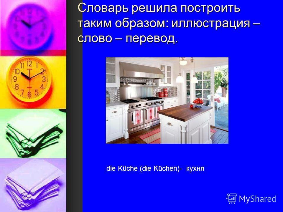 Словарь решила построить таким образом: иллюстрация – слово – перевод. die Küche (die Küchen)- кухня