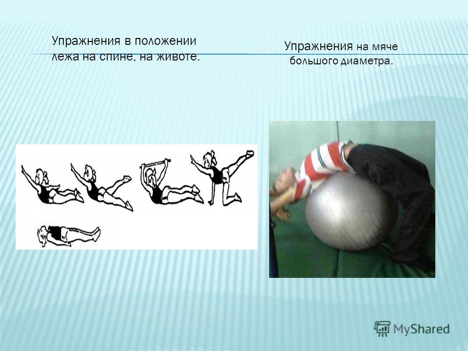 Упражнения на мяче большого диаметра. Упражнения в положении лежа на спине, на животе.