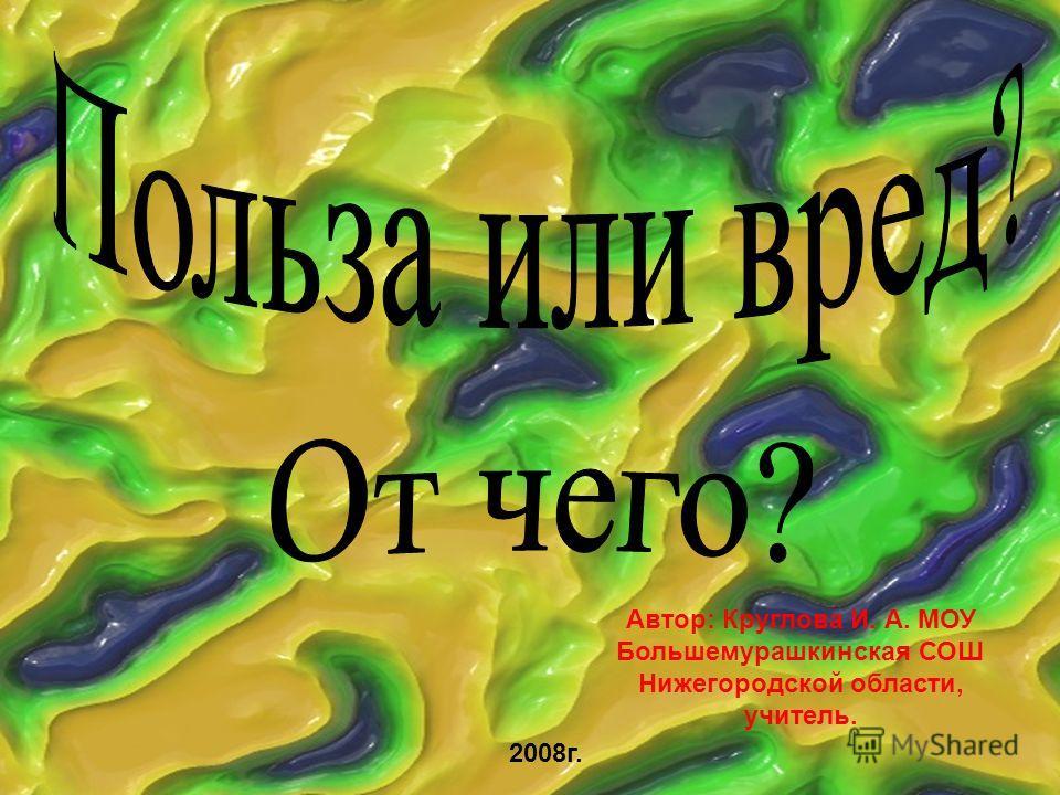 Автор: Круглова И. А. МОУ Большемурашкинская СОШ Нижегородской области, учитель. 2008г.