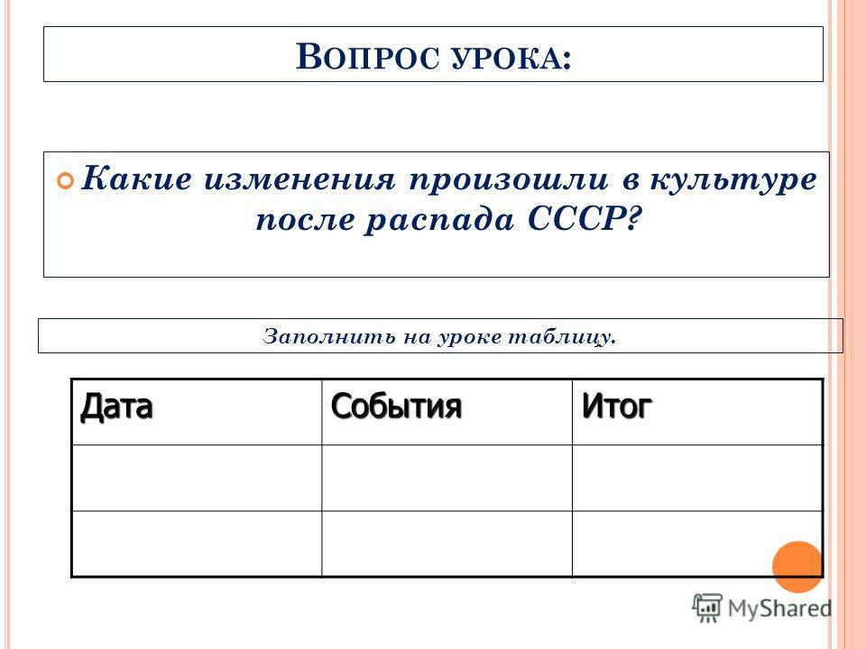 В ОПРОС УРОКА : Какие изменения произошли в культуре после распада СССР? ДатаСобытияИтог Заполнить на уроке таблицу.
