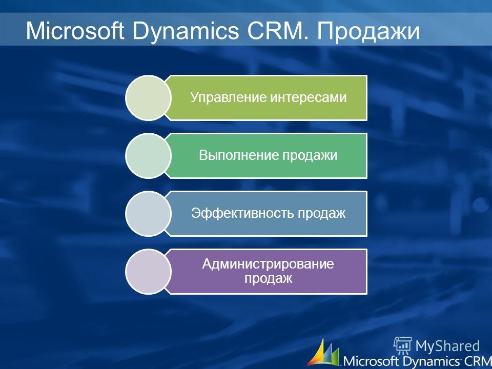 Microsoft Dynamics CRM. Продажи Управление интересами Выполнение продажи Эффективность продаж Администрирование продаж