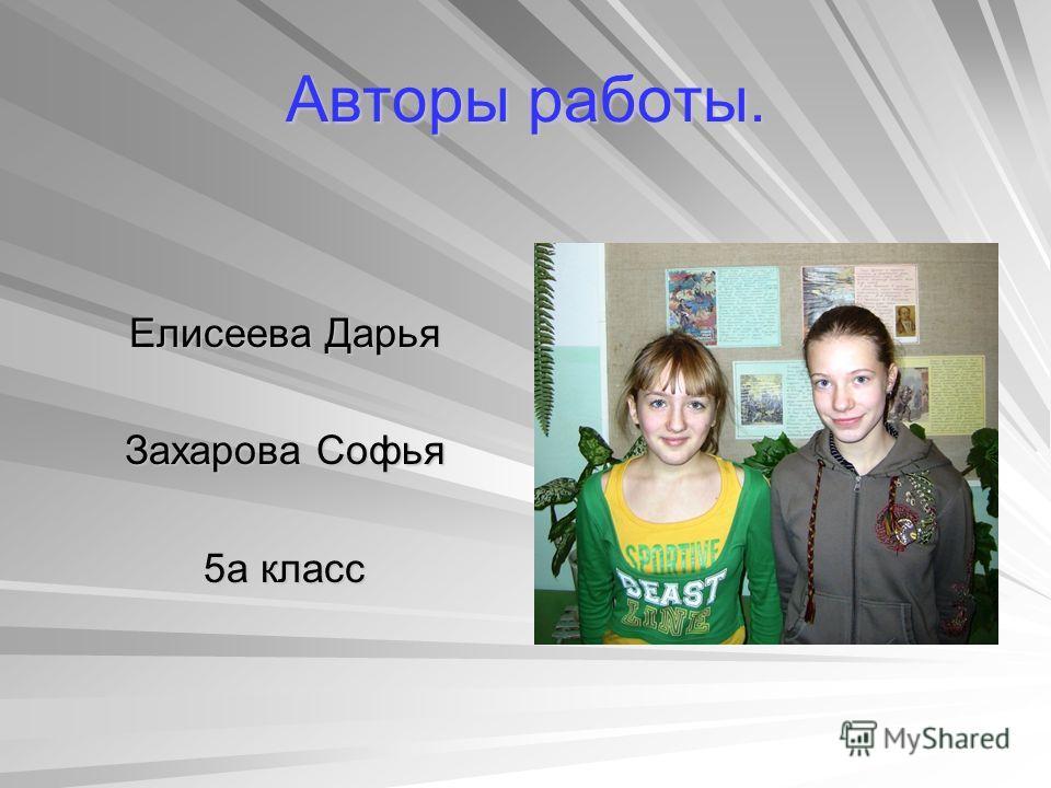 Авторы работы. Елисеева Дарья Захарова Софья 5а класс