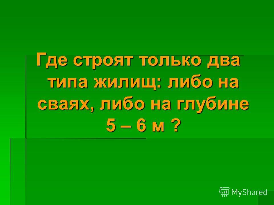 Где строят только два типа жилищ: либо на сваях, либо на глубине 5 – 6 м ?