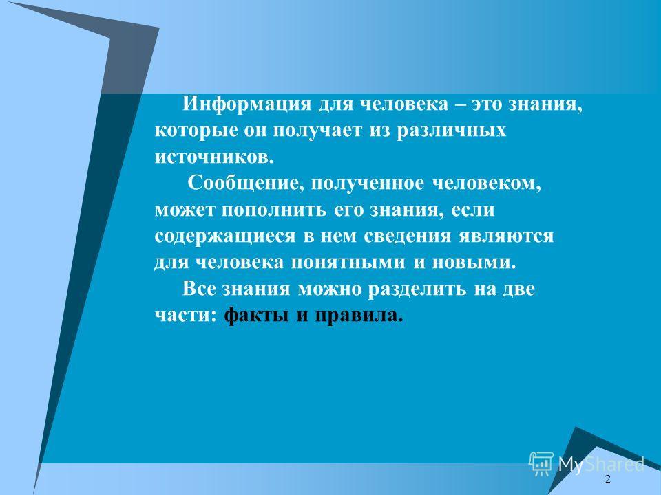 2 Информация для человека – это знания, которые он получает из различных источников. Сообщение, полученное человеком, может пополнить его знания, если содержащиеся в нем сведения являются для человека понятными и новыми. Все знания можно разделить на