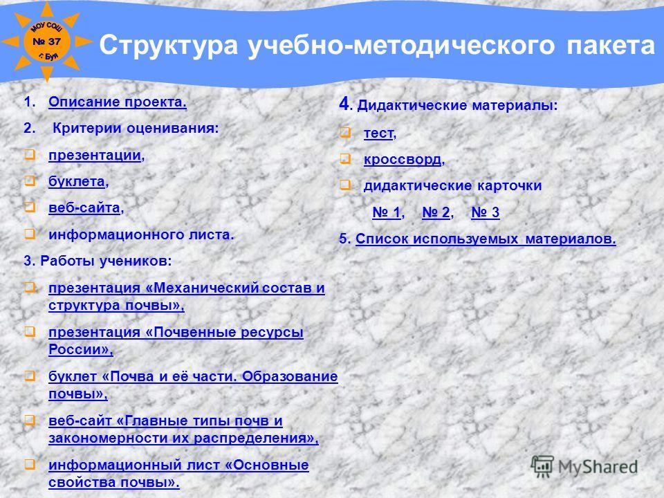 Структура учебно-методического пакета 1.Описание проекта.Описание проекта. 2. Критерии оценивания: презентации, презентации буклета, буклета веб-сайта, веб-сайта информационного листа. 3. Работы учеников: презентация «Механический состав и структура
