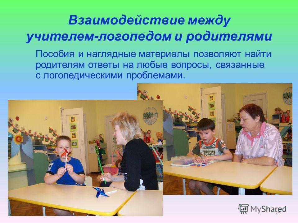 Взаимодействие между учителем-логопедом и родителями Пособия и наглядные материалы позволяют найти родителям ответы на любые вопросы, связанные с логопедическими проблемами. 23