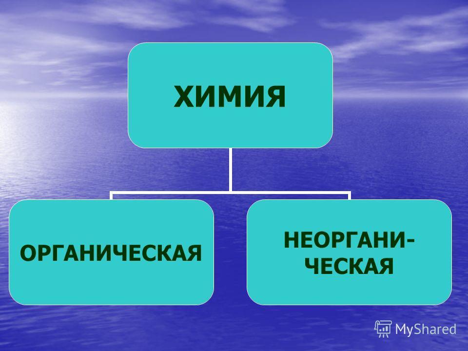 ХИМИЯ ОРГАНИЧЕСКАЯ НЕОРГАНИ- ЧЕСКАЯ