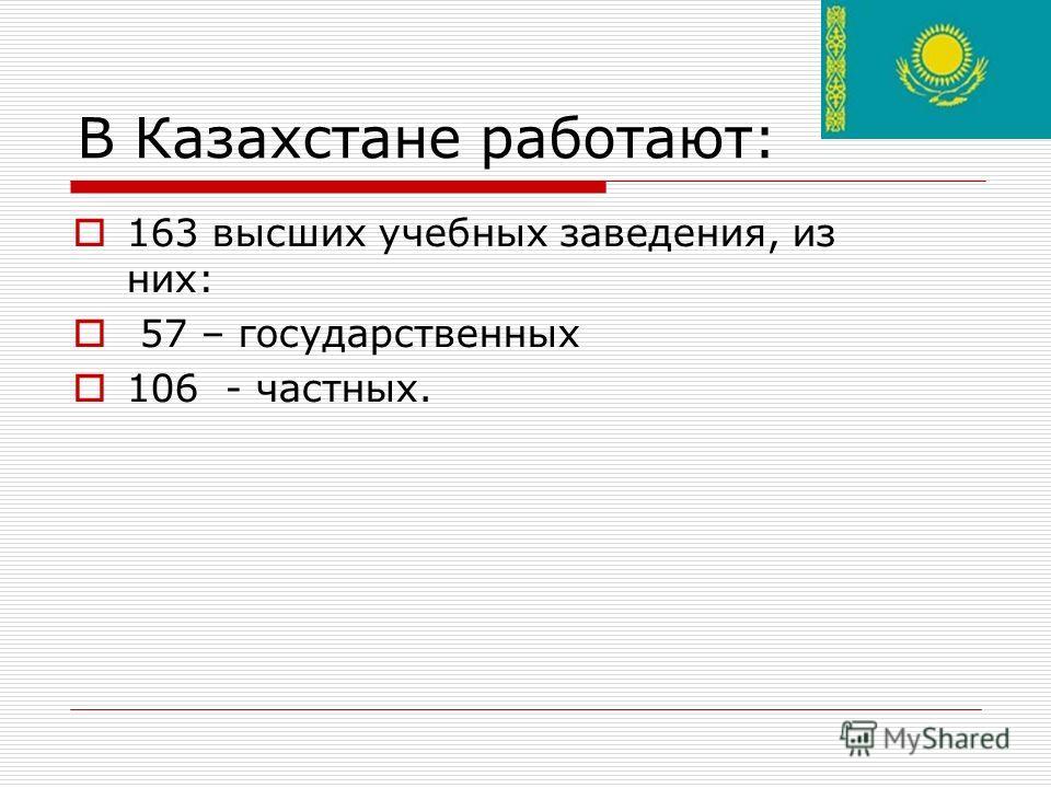 В Казахстане работают: 163 высших учебных заведения, из них: 57 – государственных 106 - частных.
