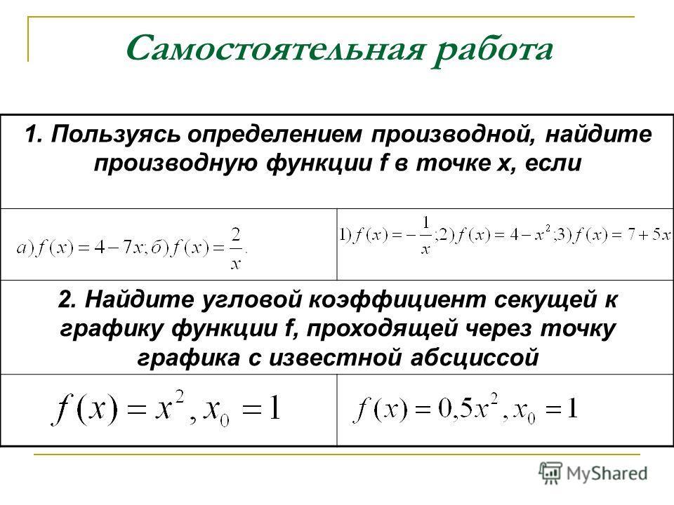 Самостоятельная работа 1. Пользуясь определением производной, найдите производную функции f в точке х, если 2. Найдите угловой коэффициент секущей к графику функции f, проходящей через точку графика с известной абсциссой