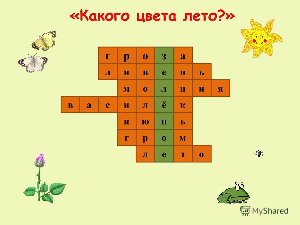 «Какого цвета лето?» 1 2 3 4 5 7 6 г иевн азор л ли молния ь ьнюи ваксё тел морг о