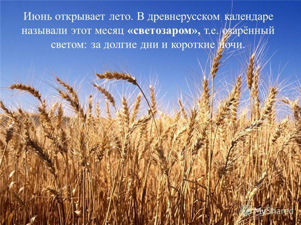 Июнь открывает лето. В древнерусском календаре называли этот месяц «светозаром», т.е. озарённый светом: за долгие дни и короткие ночи.