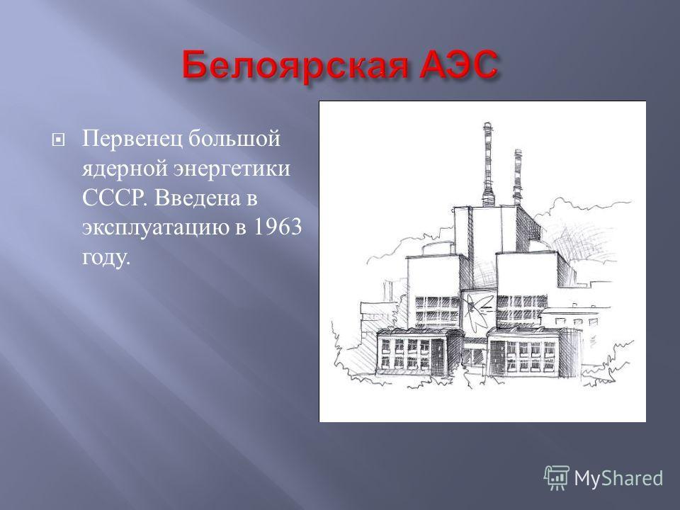 Первенец большой ядерной энергетики СССР. Введена в эксплуатацию в 1963 году.