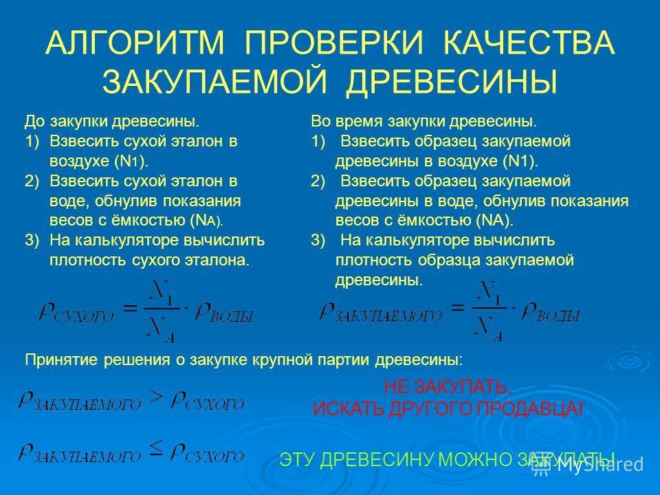 АЛГОРИТМ ПРОВЕРКИ КАЧЕСТВА ЗАКУПАЕМОЙ ДРЕВЕСИНЫ До закупки древесины. 1)Взвесить сухой эталон в воздухе (N 1 ). 2)Взвесить сухой эталон в воде, обнулив показания весов с ёмкостью (N А). 3)На калькуляторе вычислить плотность сухого эталона. Во время з