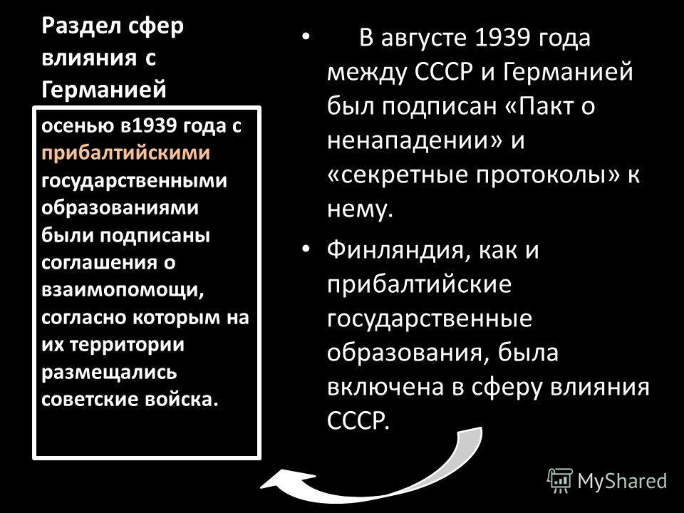 Раздел сфер влияния с Германией В августе 1939 года между СССР и Германией был подписан «Пакт о ненападении» и «секретные протоколы» к нему. Финляндия, как и прибалтийские государственные образования, была включена в сферу влияния СССР. осенью в1939