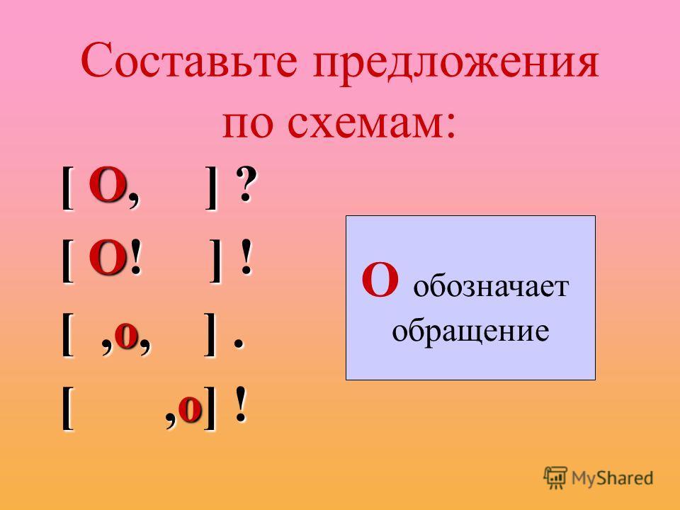 Составьте предложения по схемам: [ О, ] ? [ О! ] ! [,о, ]. [,о] ! О обозначает обращение