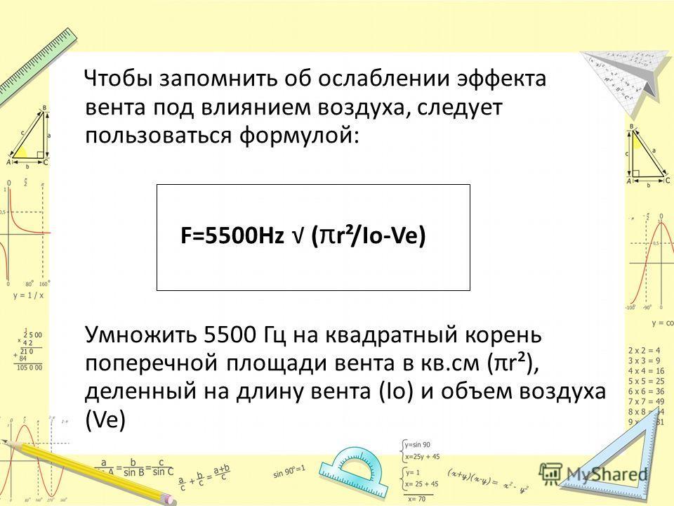 Чтобы запомнить об ослаблении эффекта вента под влиянием воздуха, следует пользоваться формулой: F=5500Hz ( π r²/Io-Ve) Умножить 5500 Гц на квадратный корень поперечной площади вента в кв.см (πr²), деленный на длину вента (Io) и объем воздуха (Ve)