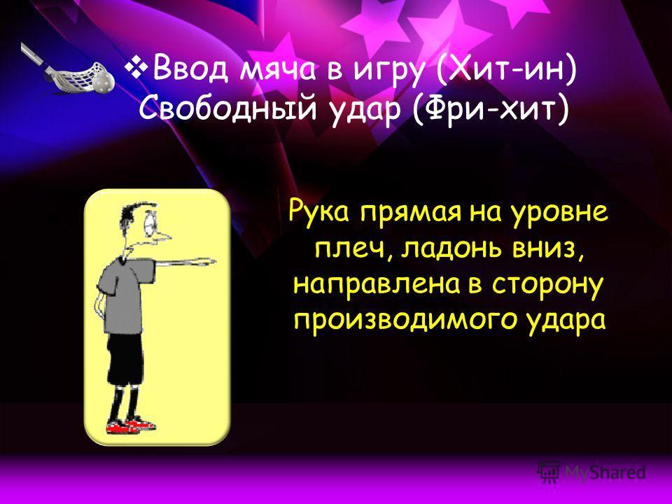 Ввод мяча в игру (Хит-ин) Свободный удар (Фри-хит) Рука прямая на уровне плеч, ладонь вниз, направлена в сторону производимого удара