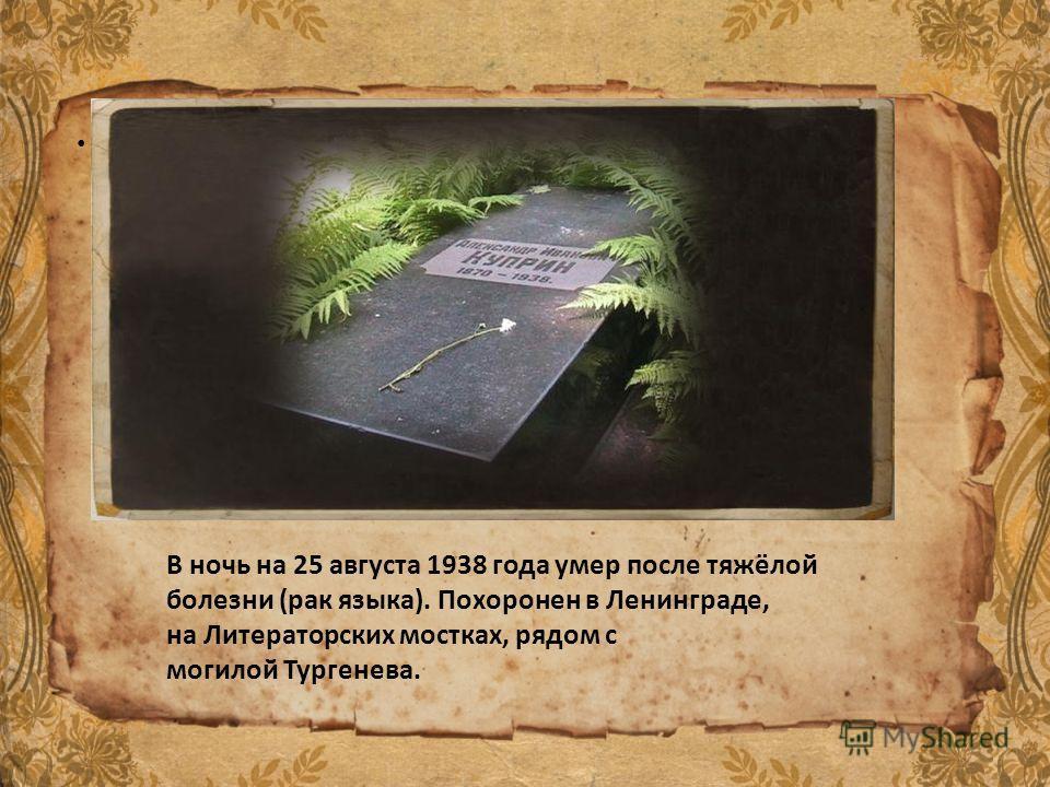 . В ночь на 25 августа 1938 года умер после тяжёлой болезни (рак языка). Похоронен в Ленинграде, на Литераторских мостках, рядом с могилой Тургенева.
