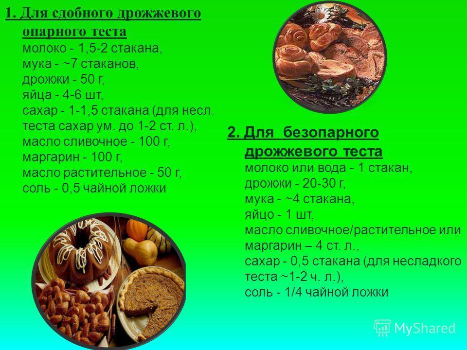 2. Для безопарного дрожжевого теста молоко или вода - 1 стакан, дрожжи - 20-30 г, мука - ~4 стакана, яйцо - 1 шт, масло сливочное/растительное или маргарин – 4 ст. л., сахар - 0,5 стакана (для несладкого теста ~1-2 ч. л.), соль - 1/4 чайной ложки 1.