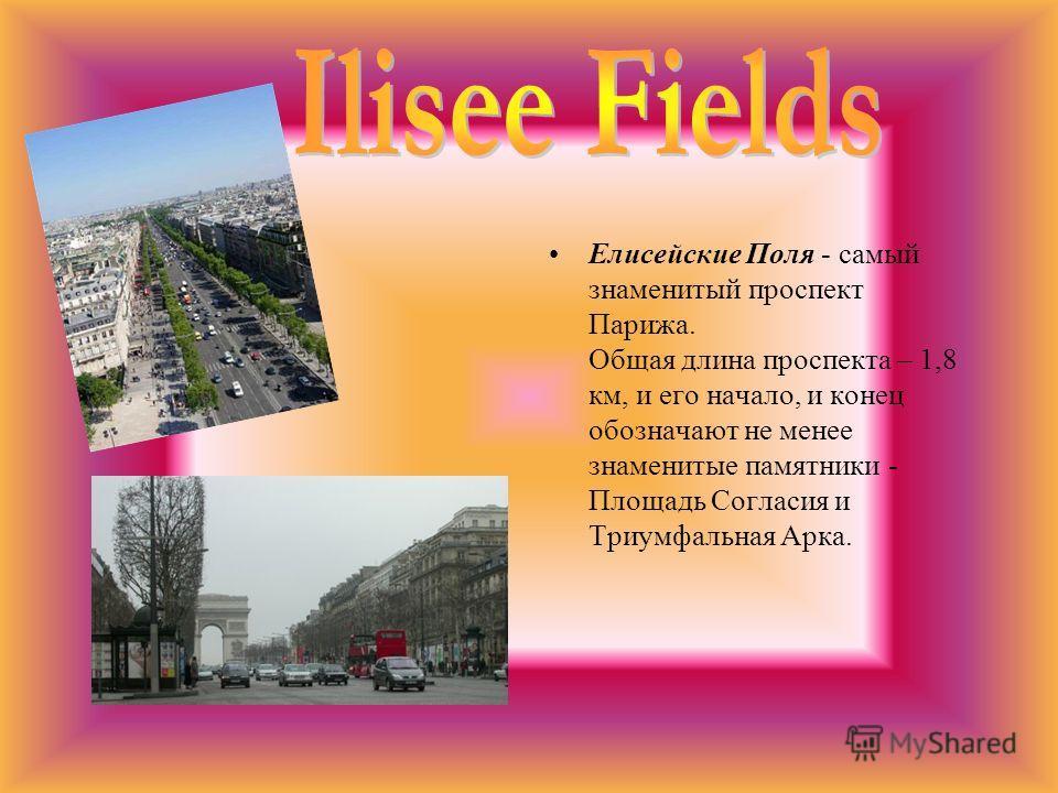 Елисейские Поля - самый знаменитый проспект Парижа. Общая длина проспекта – 1,8 км, и его начало, и конец обозначают не менее знаменитые памятники - Площадь Согласия и Триумфальная Арка.