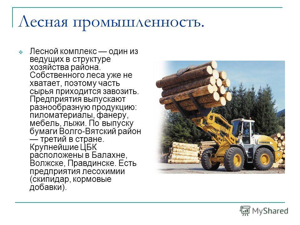 Лесная промышленность. Лесной комплекс один из ведущих в структуре хозяйства района. Собственного леса уже не хватает, поэтому часть сырья приходится завозить. Предприятия выпускают разнообразную продукцию: пиломатериалы, фанеру, мебель, лыжи. По вып