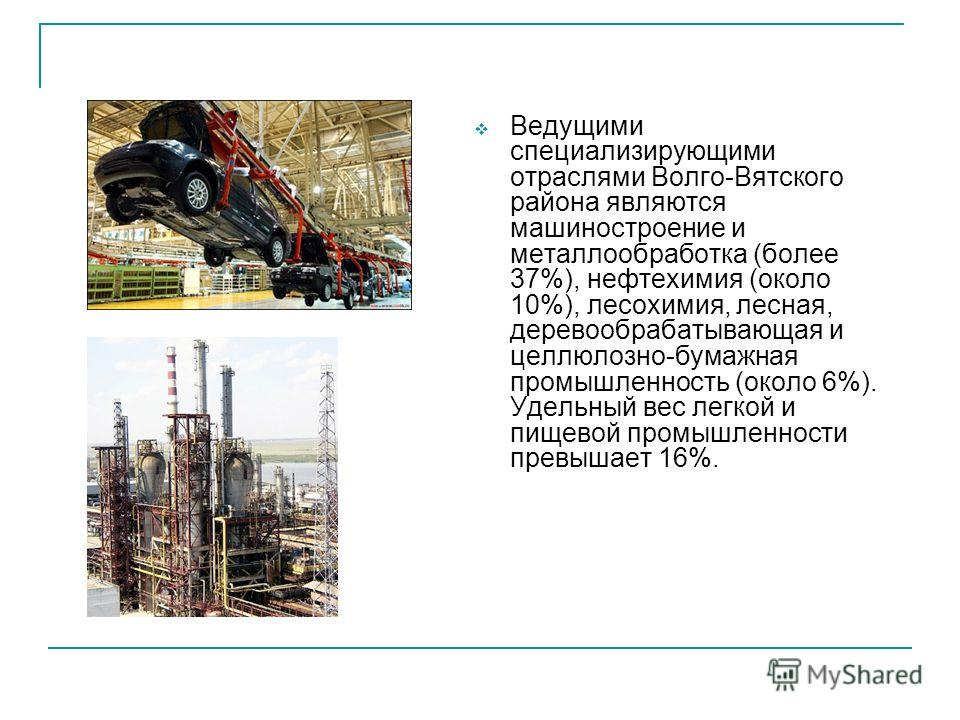 Ведущими специализирующими отраслями Волго-Вятского района являются машиностроение и металлообработка (более 37%), нефтехимия (около 10%), лесохимия, лесная, деревообрабатывающая и целлюлозно-бумажная промышленность (около 6%). Удельный вес легкой и
