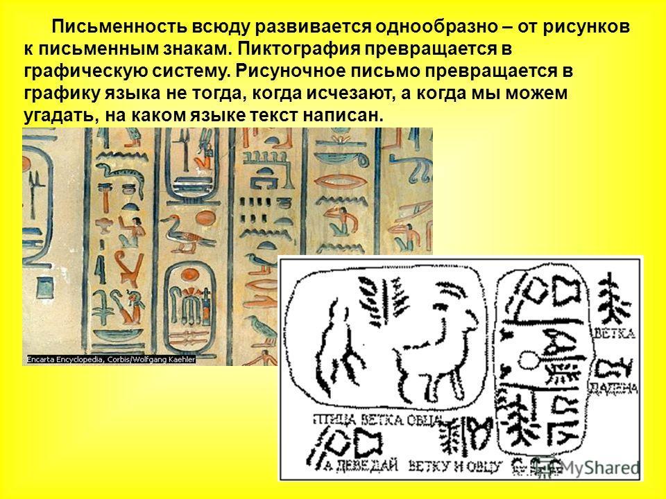 Письменность всюду развивается однообразно – от рисунков к письменным знакам. Пиктография превращается в графическую систему. Рисуночное письмо превращается в графику языка не тогда, когда исчезают, а когда мы можем угадать, на каком языке текст напи