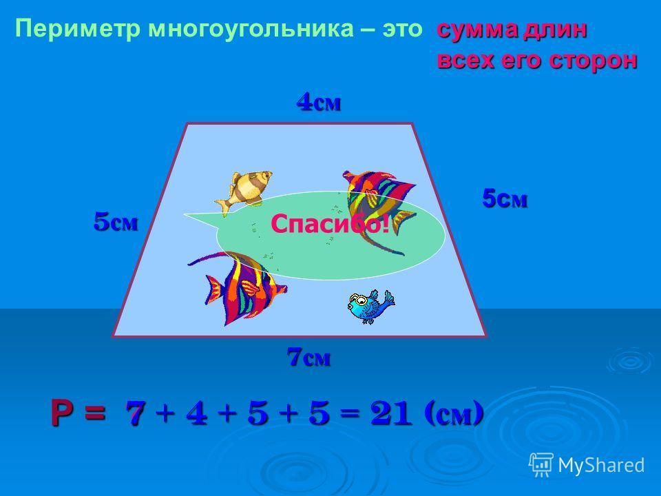 4 см 5см 7 см Р = Периметр многоугольника – этосумма длин всех его сторон ? 7 + 4 + 5 + 5 = 21 ( см ) Спасибо!
