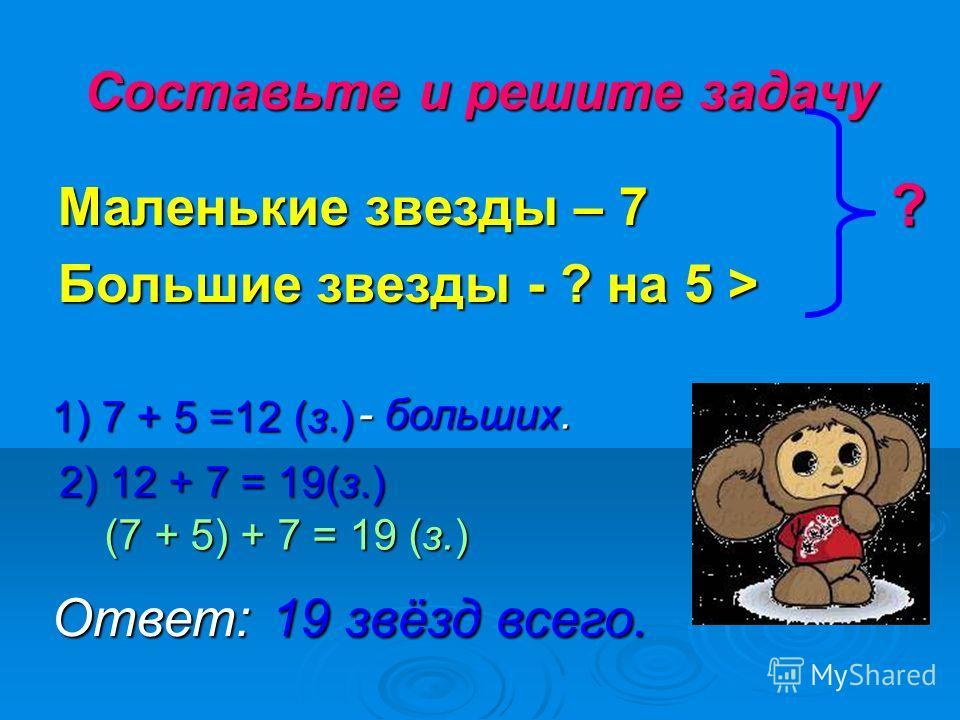 Составьте и решите задачу Маленькие звезды – 7 Большие звезды - ? на 5 > ? 1) 7 + 5 =12 (з.) - больших. - больших. 2) 12 + 7 = 19(з.) (7 + 5) + 7 = 19 (з.) Ответ:19 звёзд всего.