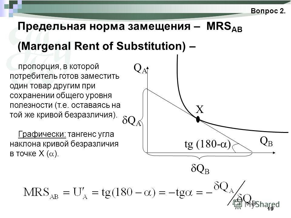 19 Предельная норма замещения – MRS AB (Margenal Rent of Substitution) – Вопрос 2. QBQB Q A QAQA tg (180- ) X Q B пропорция, в которой потребитель готов заместить один товар другим при сохранении общего уровня полезности (т.е. оставаясь на той же кри