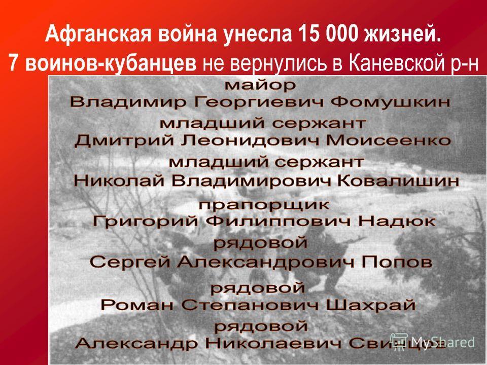 Афганская война унесла 15 000 жизней. 7 воинов-кубанцев не вернулись в Каневской р-н