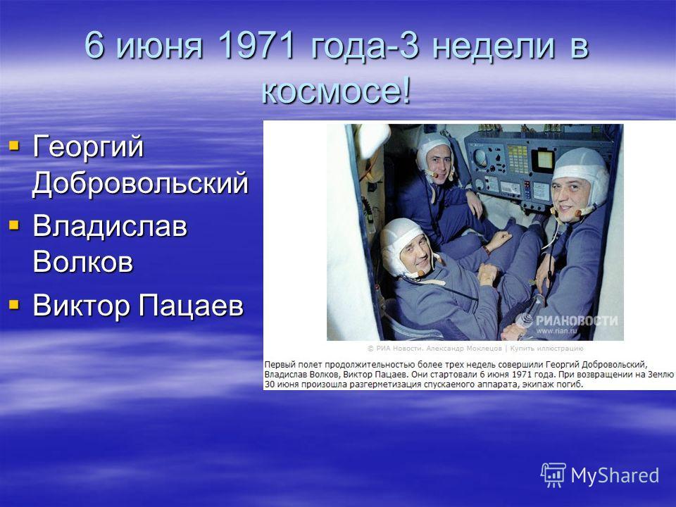 6 июня 1971 года-3 недели в космосе! Георгий Добровольский Георгий Добровольский Владислав Волков Владислав Волков Виктор Пацаев Виктор Пацаев