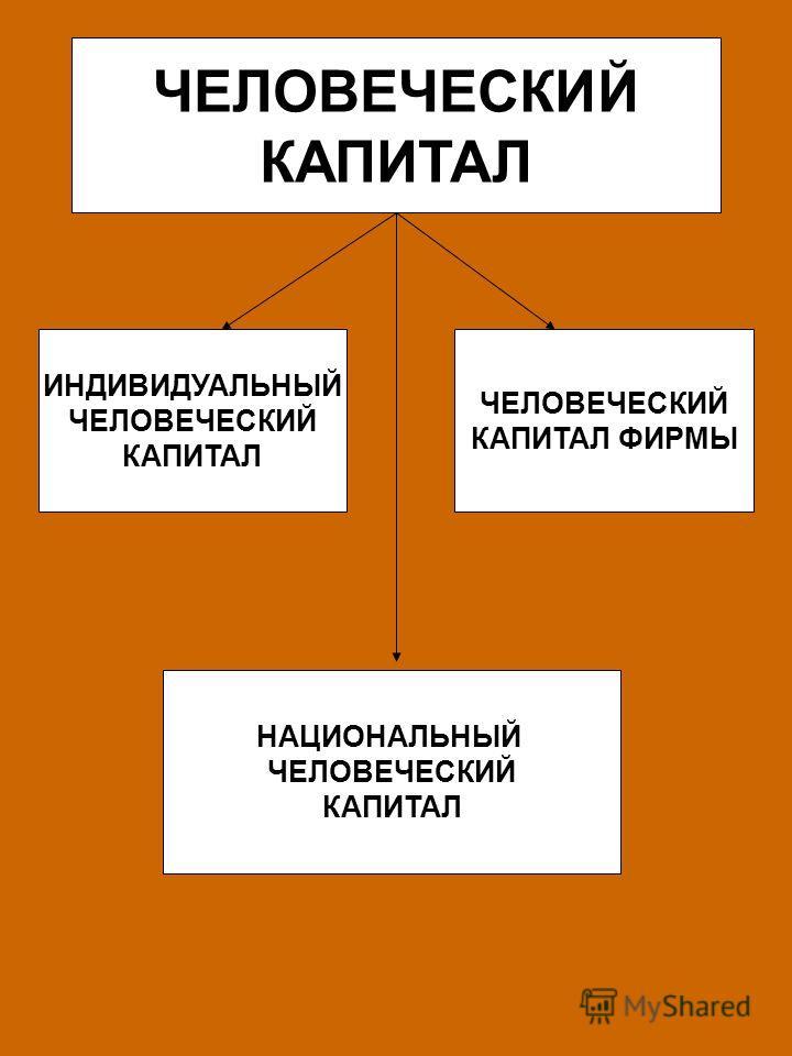 ЧЕЛОВЕЧЕСКИЙ КАПИТАЛ ИНДИВИДУАЛЬНЫЙ ЧЕЛОВЕЧЕСКИЙ КАПИТАЛ ЧЕЛОВЕЧЕСКИЙ КАПИТАЛ ФИРМЫ НАЦИОНАЛЬНЫЙ ЧЕЛОВЕЧЕСКИЙ КАПИТАЛ