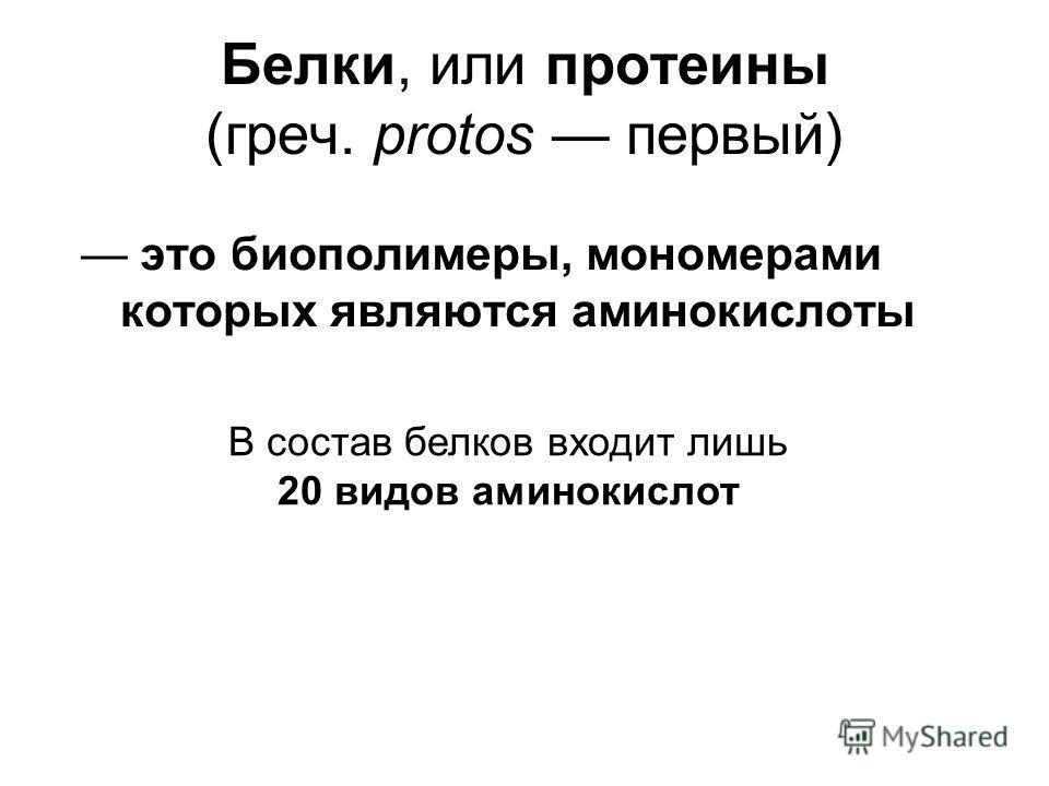 Белки, или протеины (греч. protos первый) это биополимеры, мономерами которых являются аминокислоты В состав белков входит лишь 20 видов аминокислот