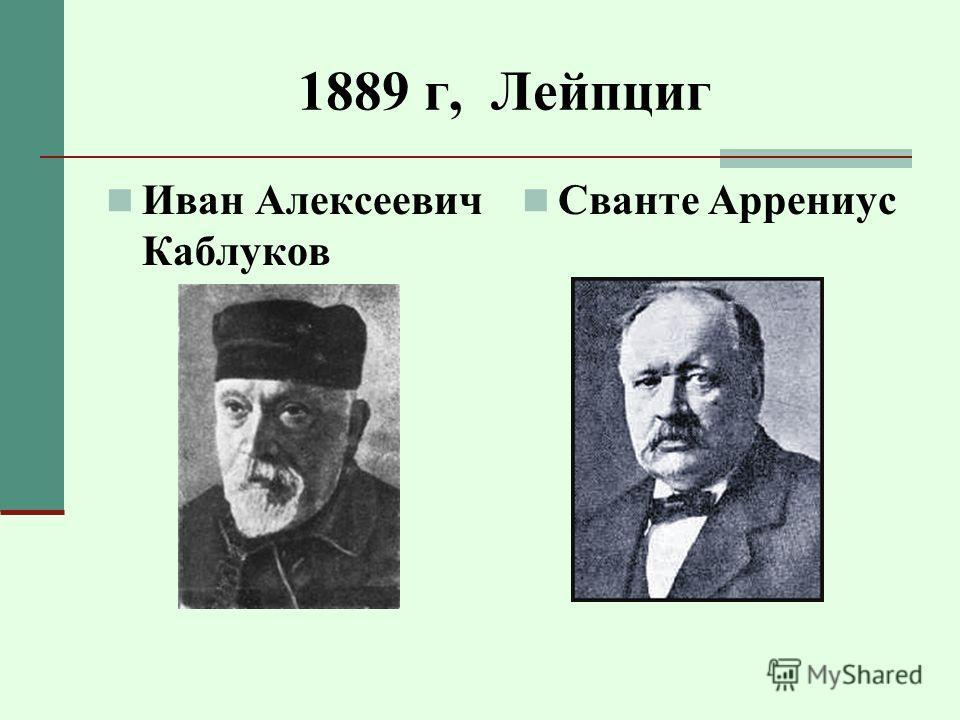 1889 г, Лейпциг Иван Алексеевич Каблуков Сванте Аррениус