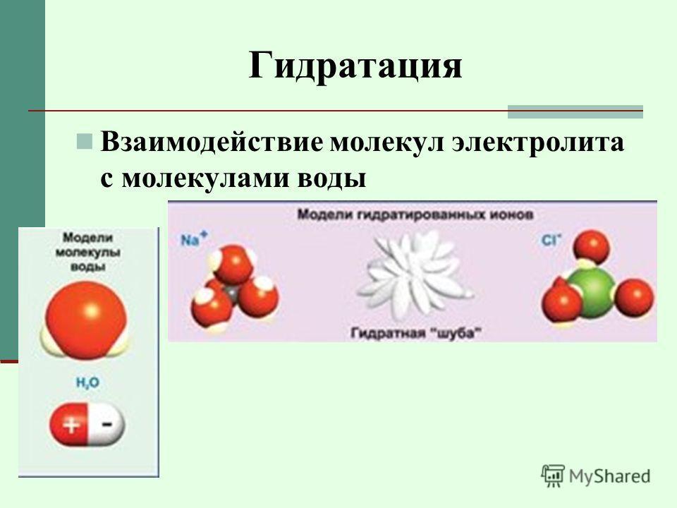 Гидратация Взаимодействие молекул электролита с молекулами воды