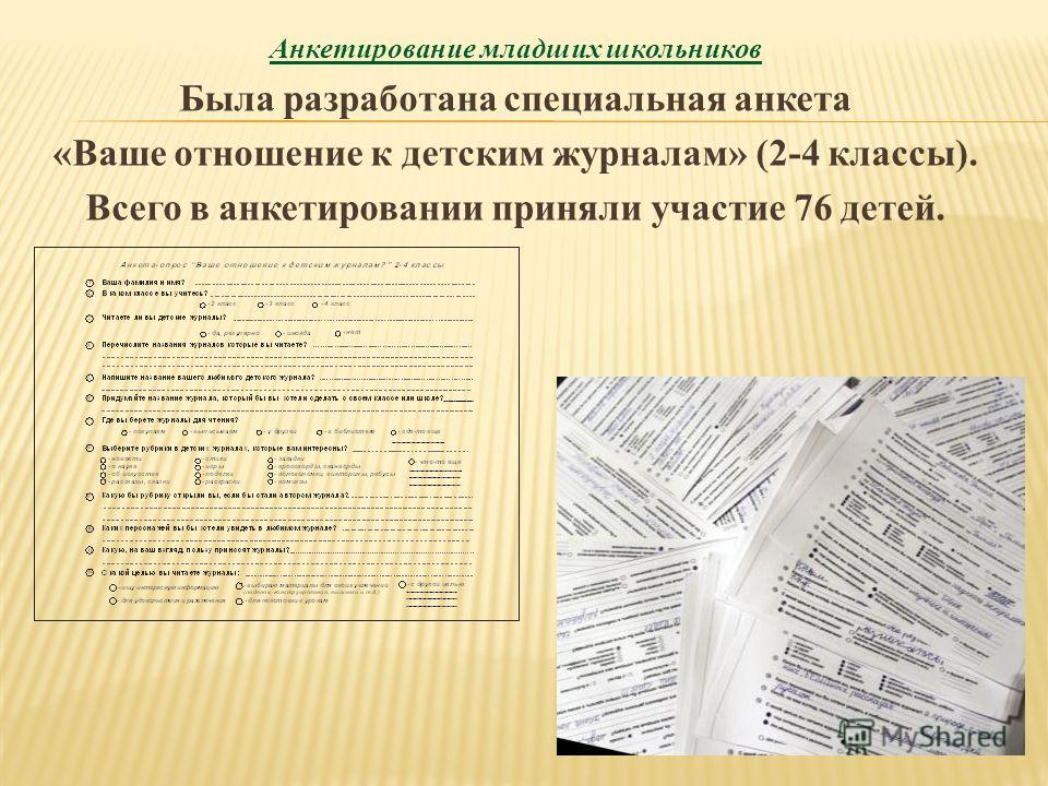 Анкетирование младших школьников Была разработана специальная анкета «Ваше отношение к детским журналам» (2-4 классы). Всего в анкетировании приняли участие 76 детей.