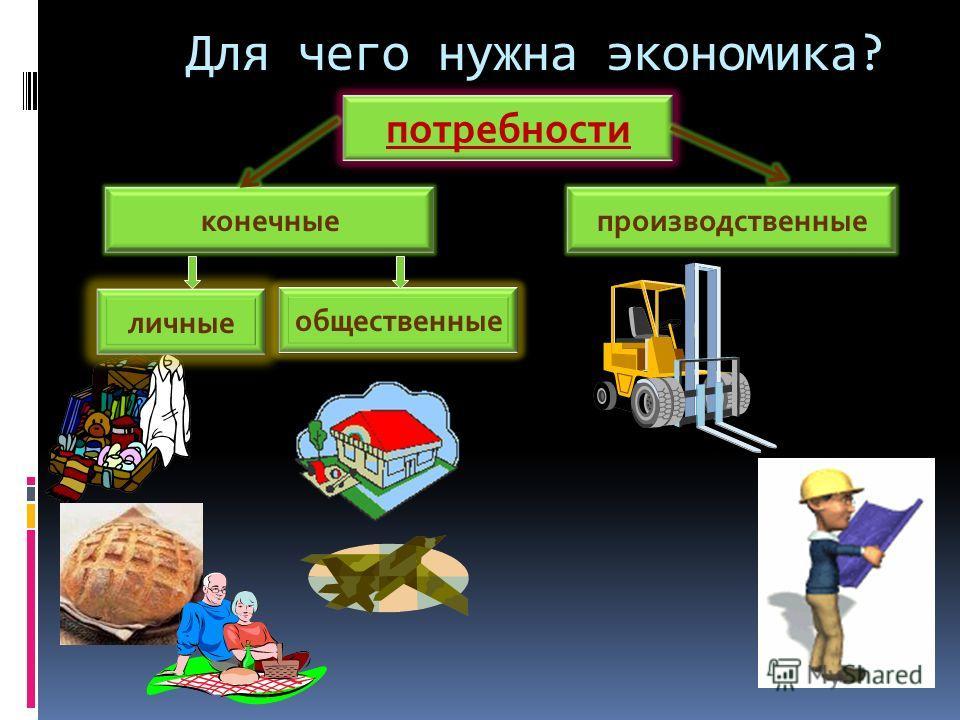 Для чего нужна экономика? потребности конечныепроизводственные личные общественные