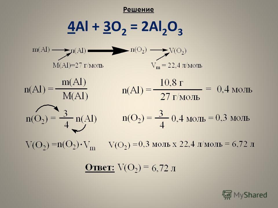 Решение 4Al + 3O 2 = 2Al 2 O 3
