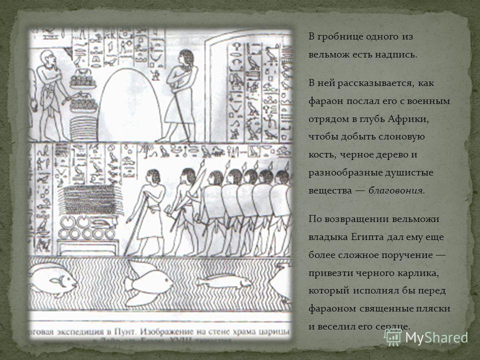 В гробнице одного из вельмож есть надпись. В ней рассказывается, как фараон послал его с военным отрядом в глубь Африки, чтобы добыть слоновую кость, черное дерево и разнообразные душистые вещества благовония. По возвращении вельможи владыка Египта д