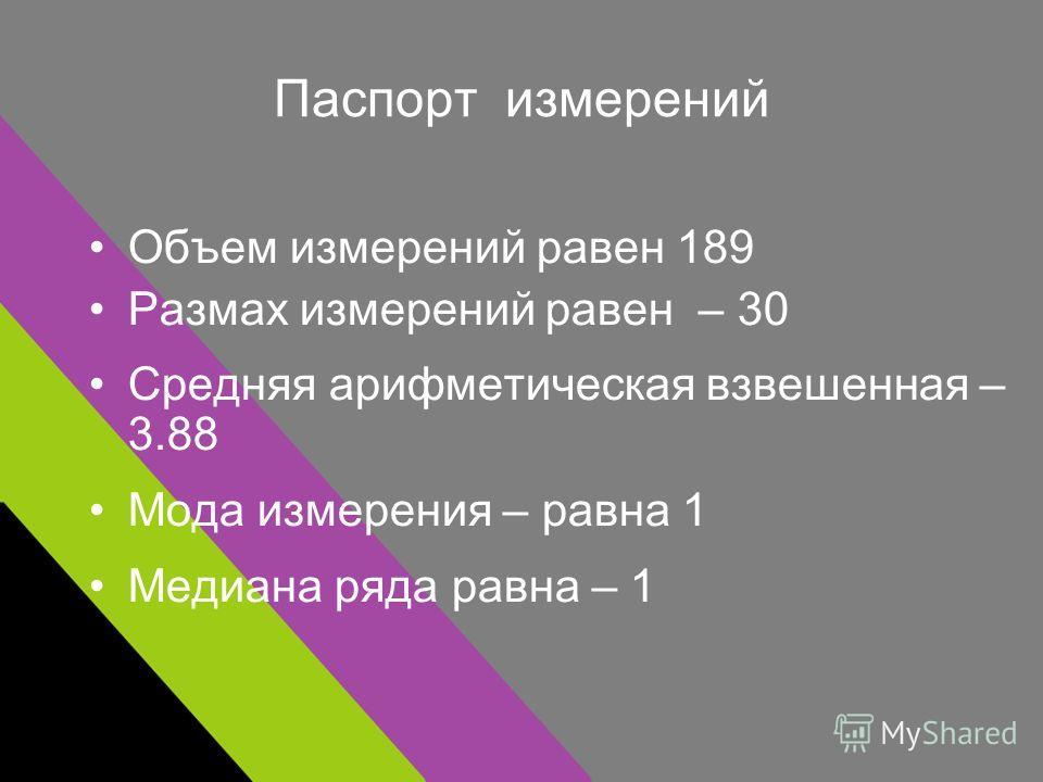 Паспорт измерений Объем измерений равен 189 Размах измерений равен – 30 Средняя арифметическая взвешенная – 3.88 Мода измерения – равна 1 Медиана ряда равна – 1