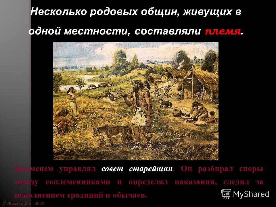 © Жадаев Д.Н., 2005 Несколько родовых общин, живущих в одной местности, составляли племя. Племенем управлял совет старейшин. Он разбирал споры между соплеменниками и определял наказания, следил за исполнением традиций и обычаев.