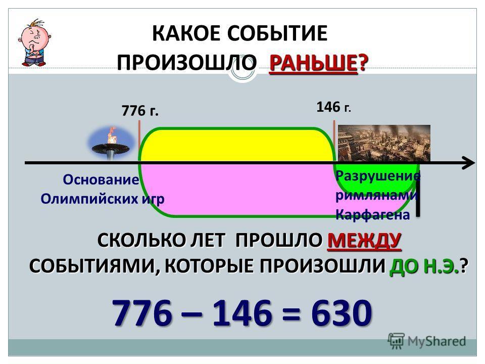 КАКОЕ СОБЫТИЕ ПРОИЗОШЛО РАНЬШЕ? 776 г. 146 г. СКОЛЬКО ЛЕТ ПРОШЛО МЕЖДУ СОБЫТИЯМИ, КОТОРЫЕ ПРОИЗОШЛИ ДО Н.Э.? Основание Олимпийских игр Разрушение римлянами Карфагена 776 – 146 = 630