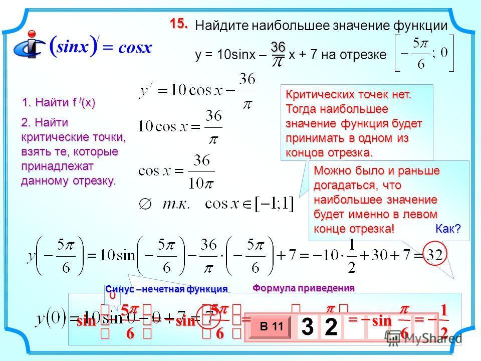 Критических точек нет. Тогда наибольшее значение функция будет принимать в одном из концов отрезка. Можно было и раньше догадаться, что наибольшее значение будет именно в левом конце отрезка! Как? 6 5 sin 6 sin 3 х 1 0 х В 11 3 2 Найдите наибольшее з