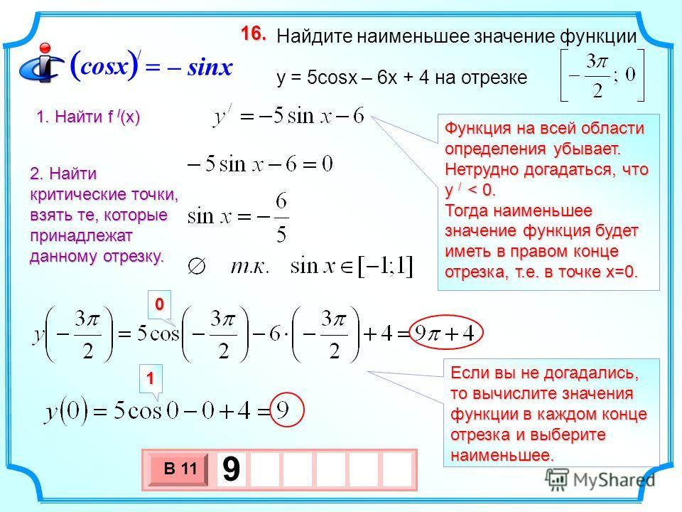 Функция на всей области определения убывает. Нетрудно догадаться, что у / < 0. Тогда наименьшее значение функция будет иметь в правом конце отрезка, т.е. в точке х=0. 3 х 1 0 х В 11 9 Найдите наименьшее значение функции y = 5cosx – 6x + 4 на отрезке